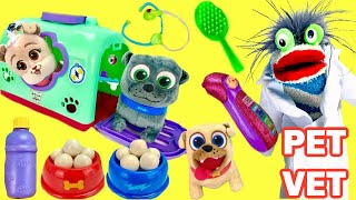 Puppy Dog Pals Bingo Rolly Pet Crate Playset Go to Vet Groomed and Eat