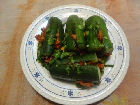 وصفات وأكلات كوريه:مخلل الخيار الكورى. cucumber kimchi Music Videos