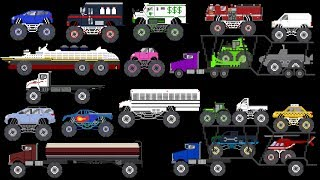 Monster Vehicles 4 - Monster Trucks & Street Vehicles - The Kids' Picture Show (Learning Video)