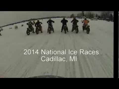 MUST SEE CRASH! - 2014 National Motorcycle Ice Race