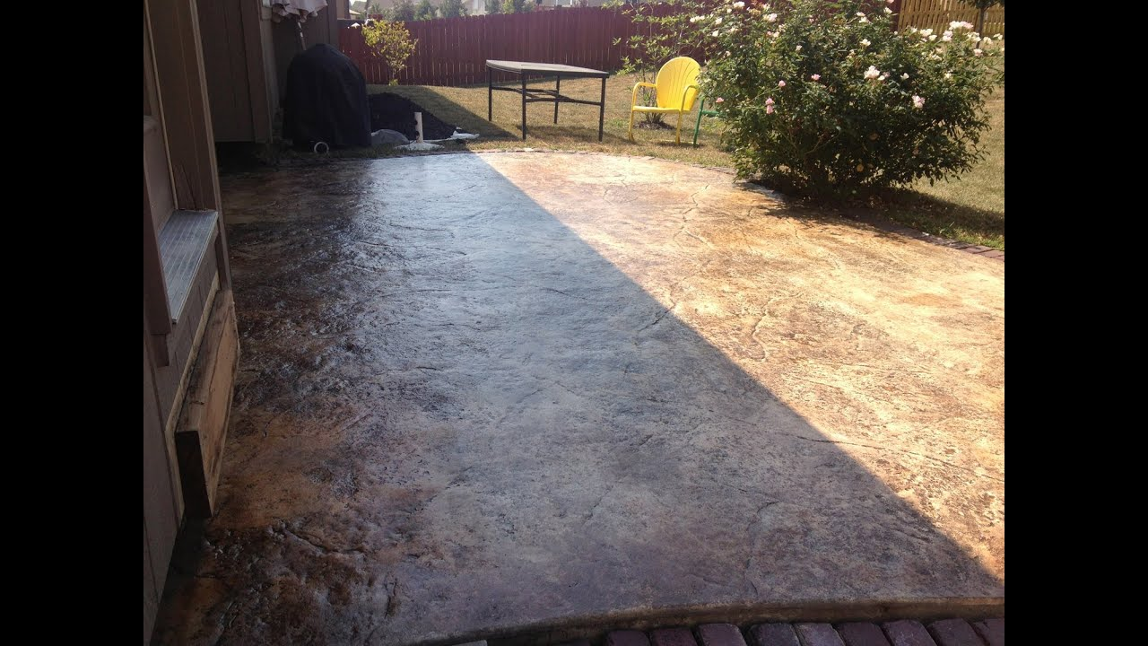 How to re seal a stained concrete patio youtube for How do you clean concrete