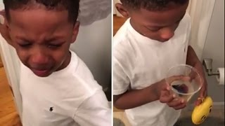 Crying Boy Can't Bear To Flush His Dead Pet Fish Down The Toilet