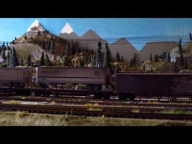 HO Model Train Layout - DCC slow trains 5.13.13
