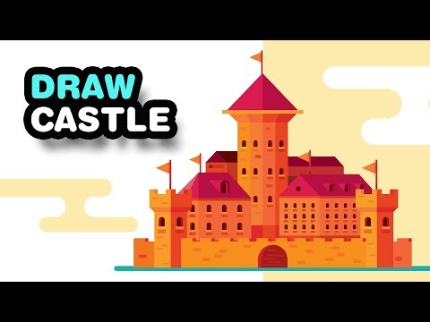 How to DRAW A CASTLE Step by Step for Beginners - Adobe Illustrator Tutorial