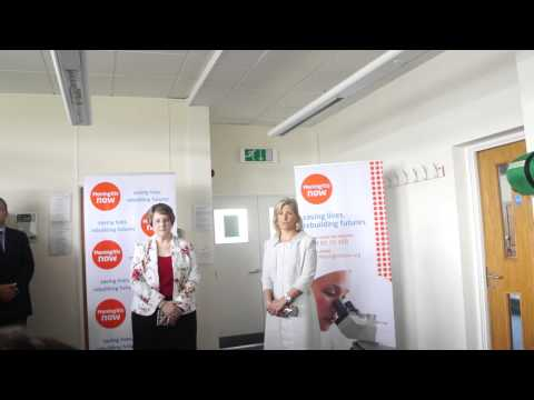HRH the Countess of Wessex gives a speech during a visit to the Meningitis Now