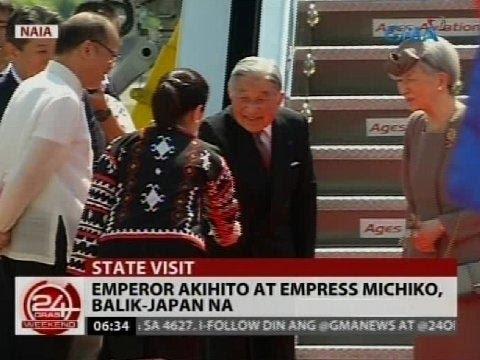 Emperor Akihito at Empress Michiko, balik-japan na matapos ang state visit