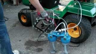 Rasenmähertrecker mit Sauerstoff/Wasserstoff Zusatz hho
