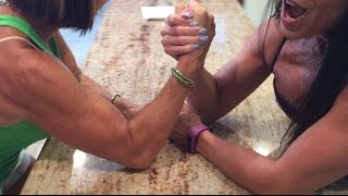 AUNT & NIECE ARM WRESTLE! 68 Year Old Aunt Peggy & almost 50 year old niece, Farm Girl.