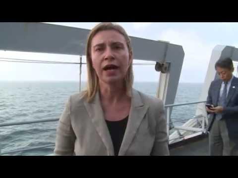 HRVP Mogherini, UN Secretary General, BAN Ki moon, Italian PM Matteo RENZI, on Navy ship San Giusto