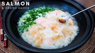 Healthy Salmon Recipe: Wild Salmon & Grated Daikon... with Ponzu Sauce   Serve with Rice!