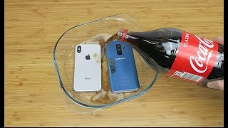Samsung Galaxy S9 Plus vs iPhone X Coca Cola Freeze Test 24 Hours