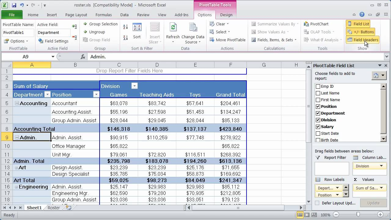 Working With Pivot Tables In Excel 2010 Part 3 Youtube