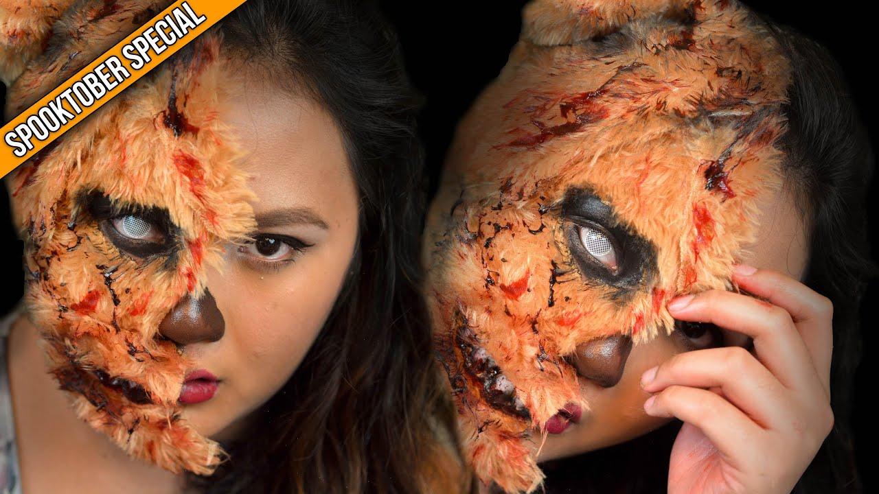 halloween makeup teddy bear girl delaniamarvella youtube