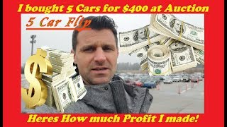 I bought 5 Cars for under $400 at a Dealer Auction. How Much did I make?