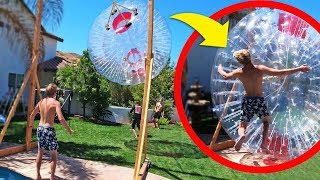 GIANT Inflatable Wrecking Ball Challenge!!