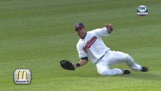 Brantley makes a slick sliding catch in left