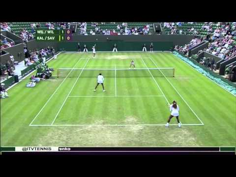 2014 Wimbledon R1 - Williams/Williams vs. Kalashnikova/Savchuk