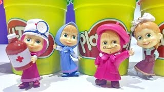 Masha And The Bear Figures ❤ Masha i Medved Play Doh Surprise Eggs Unboxing For Kids Worldwide