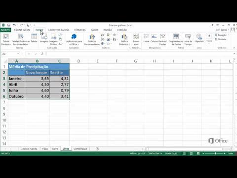 Criar Gráficos de Pizza, de Barras e de Linhas no Excel 2013