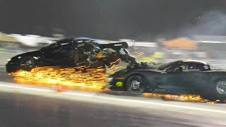 Bad WRECK - Blown Corvette & Turbo Mustang DESTROYED!