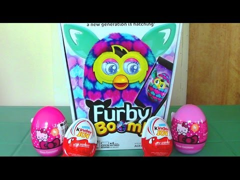 Furby Boom Hello Kitty Surprise Eggs Kinder Joy Surprise Eggs. Furby Boom Eats Kinder Surprise Egg