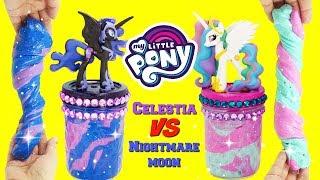 D.I.Y. MY LITTLE PONY Princess Celestia VS Nightmare Moon Slime Challenge