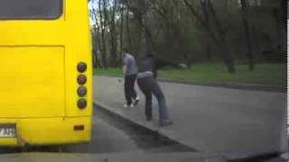 drunk guy gets thrown off the bus in Russia