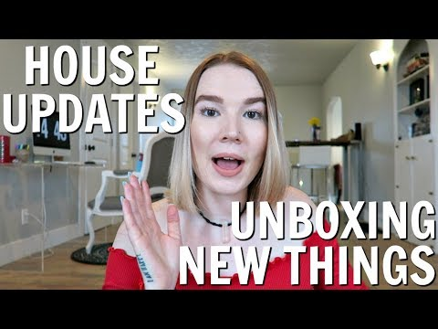 LIVING ROOM UPDATES + UNBOXING HAUL! | MOVING VLOG