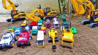 Car Toys Construction Vehicles | Excavator Rescue,  Build Blocks Bridge