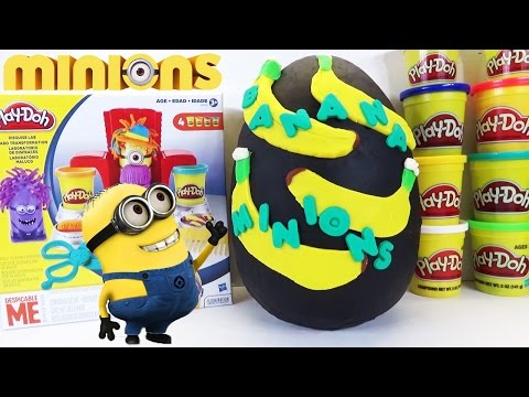 GIANT Minions Banana Play Doh Surprise Egg Opening with Despicable Me Blind Bag Toys