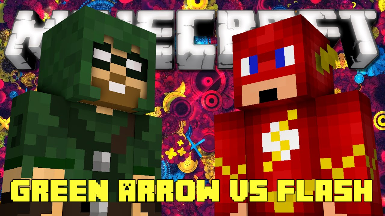Minecraft flash vs green arrow pvp battle super hero mod