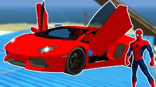 RED RACE CAR with Spiderman Cartoon for Kids & Nursery Rhymes Songs for Children Games with Action