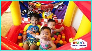 McDonald's Drive thru Inflatable Ball Pit Toys! Kiddie Pool Kids and Babies Playtime