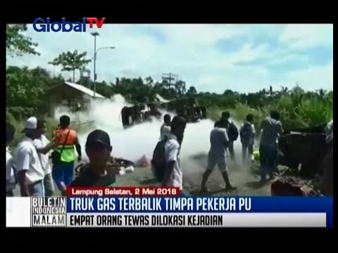 Diduga rem blong, truk tangki bermuatan gas terbalik jalan lintas sumatera - BIM 02/05