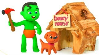 SUPERHERO BABIES BUILD A HOUSE FOR THE DOG ❤ Superhero Babies Play Doh Cartoons For Kids