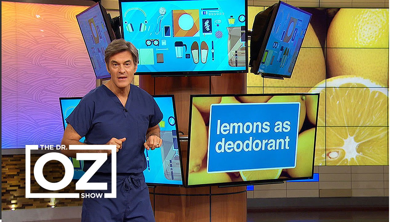 Dr oz shows how to use lemons as deodorant and dandruff treatment
