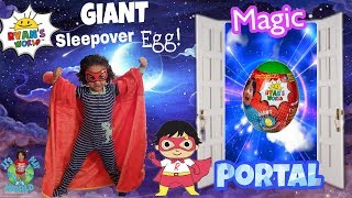 JJ goes through Magic Portal to Jace's Toy Playhouse to get RYAN'S WORLD GIANT GREEN SLEEPOVER EGG!