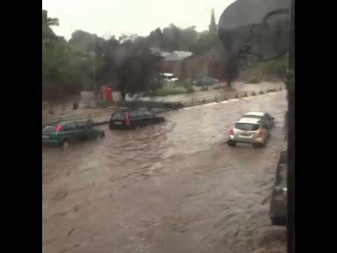 Flooding In Alyth, Pertshire Ruins Cars and Houses