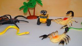 Животные, насекомые и робот. Мультики игрушки. Робот Валли и Ева