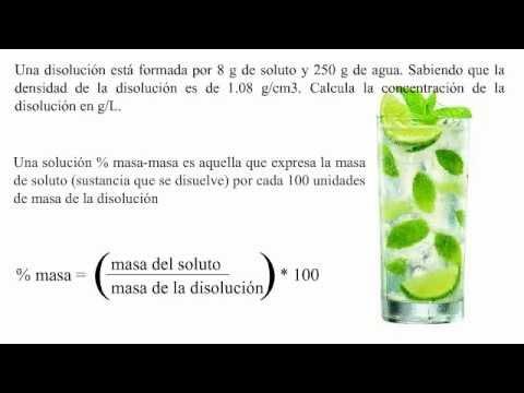 Solucion porcentaje masa-masa y densidad de solución soluto