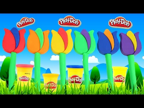 Modelling Clay Play Doh Rainbow Flower Garden Fun and Creative For Kids Learn and Play