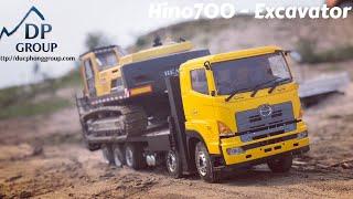Rc construction | Hino700 fooc 5 chân chở máy xúc | Hino700 5 axle load excavator | 1:14 Rc