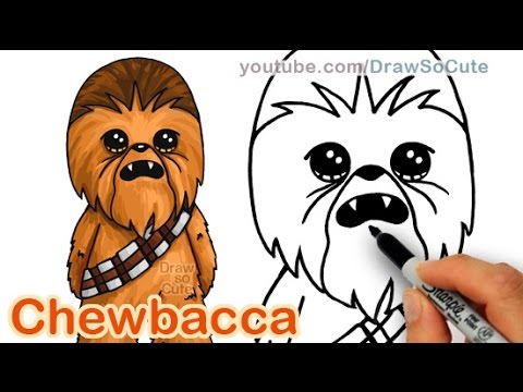 How to Draw Star Wars Chewbacca Cute step by step Easy thumbnail