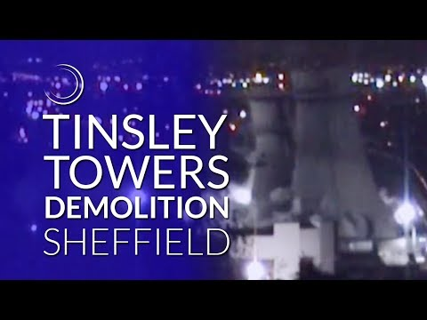 Demolition of Sheffield's iconic Tinsley Towers, situated just 9 meters away from a viaduct of the M1 motorway at it's cloest point - near to Meadowhall shop...