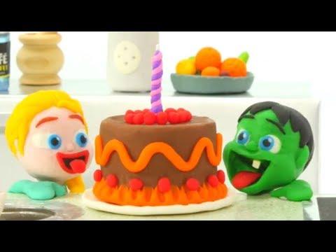 SUPERHERO BABIES FIND A CAKE ❤ Spiderman, Hulk & Frozen Play Doh Cartoons For Kids
