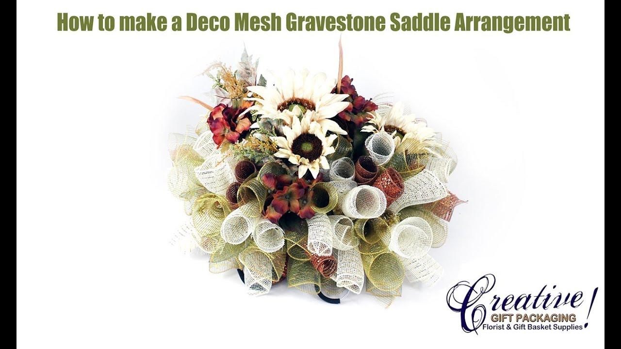 How To Make A Beautiful Deco Mesh Gravestone Saddle Youtube