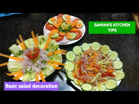 Basic Salad Decoration - how to make simple salad | 3 Salad Recipes for lunch dinner & functions