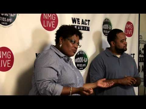Courtney Snowden and Rashad Young visit job training students at We Act Radio