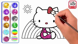 Kids learn to draw and colour PiKachu,Doraemon,Hello Kitty and Lovely Parrot   Kids Channel TV