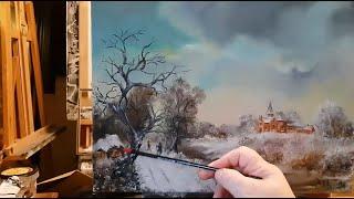 Winter twilight - Oil painting on canvas